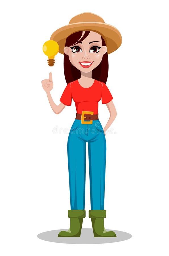 Cheerful gardener woman rancher having a good idea. royalty free illustration