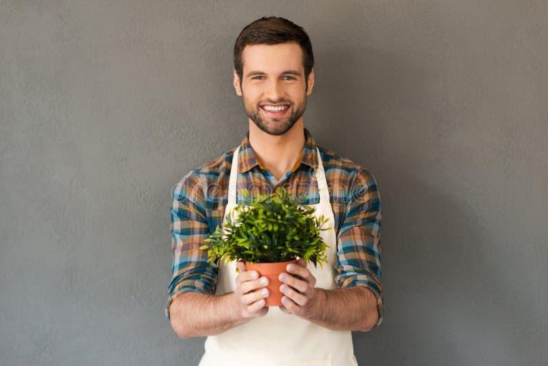 Cheerful gardener. stock image