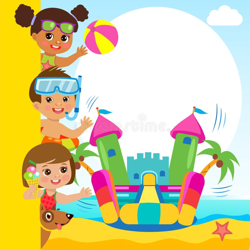 Cheerful Girl And Boy In Jumping Bouncy Castle. Summertime Template. Cheerful Girl And Boy In Jumping Bouncy Castle. Summertime Template With Space For Text royalty free illustration