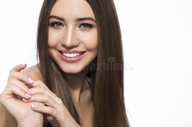 Cheerful girl with brown hair stock image