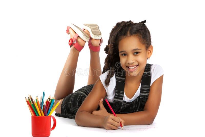 Little Girl Gymnast Performs Exercises Flexible Girl Lying On The Floor Stock Photo Image Of