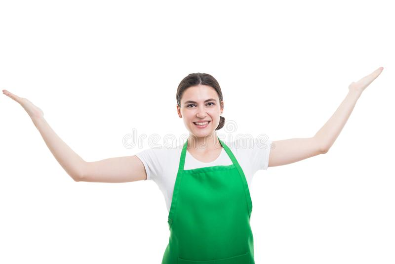 Cheerful girl employer holding arms up royalty free stock photo