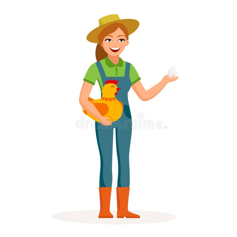 Cheerful girl farmer is holding an egg and cute hen in hands cartoon characters in flat design isolated on white stock illustration