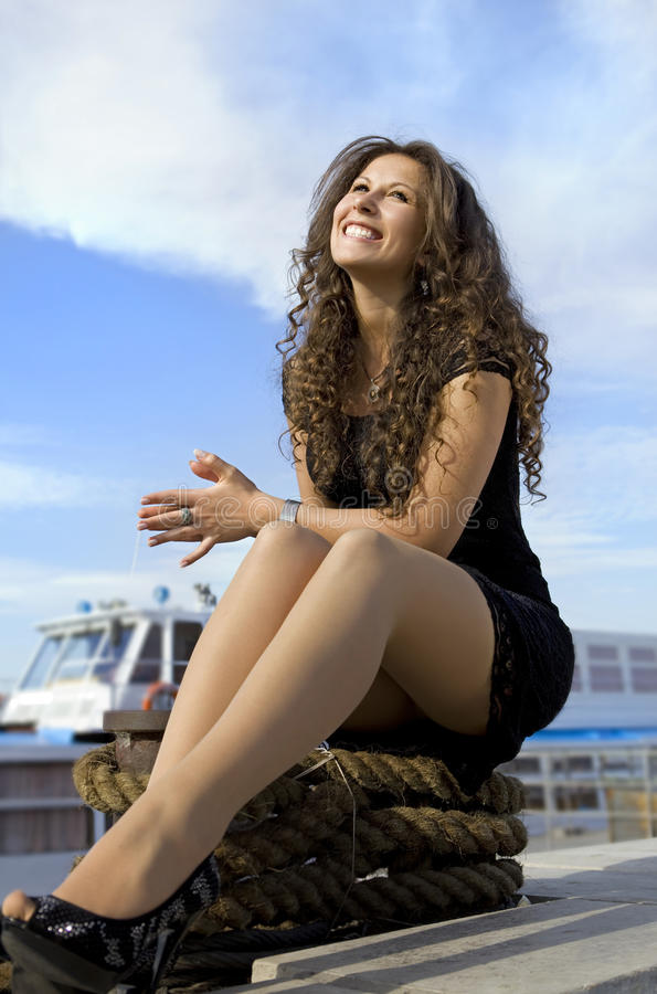Cheerful Girl On Landing Stage Stock Photos
