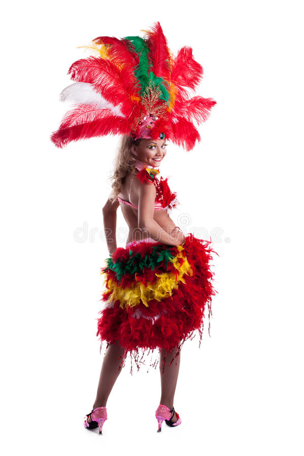 Cheerful girl posing in colorful carnival costume royalty free stock photography