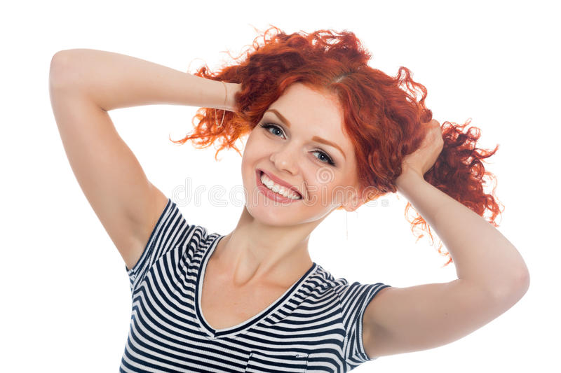 Cheerful girl with red hair stock photos