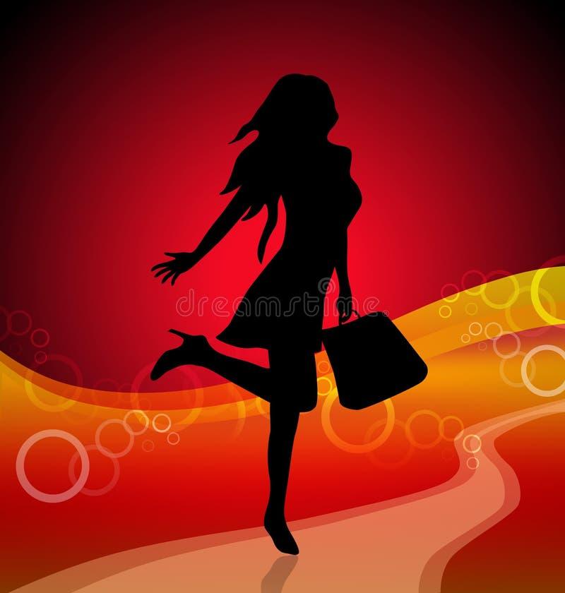 Cheerful girl silhouette vector illustration