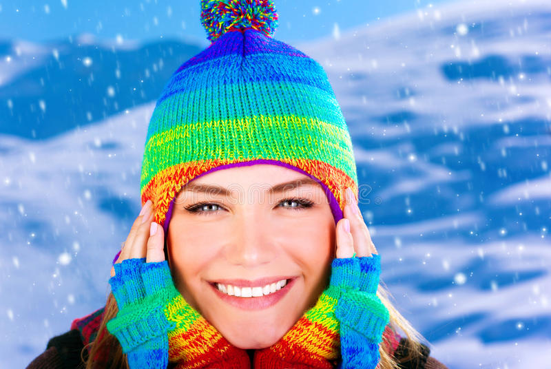 Cheerful girl in winter park stock photos