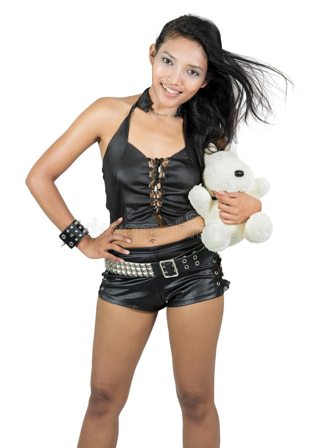 Free Cheerful Girl With Teddy Bear Stock Photography - 46746602