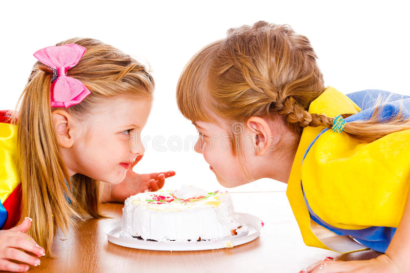 Cheerful Girls With Creamy Fingers Royalty Free Stock Photo