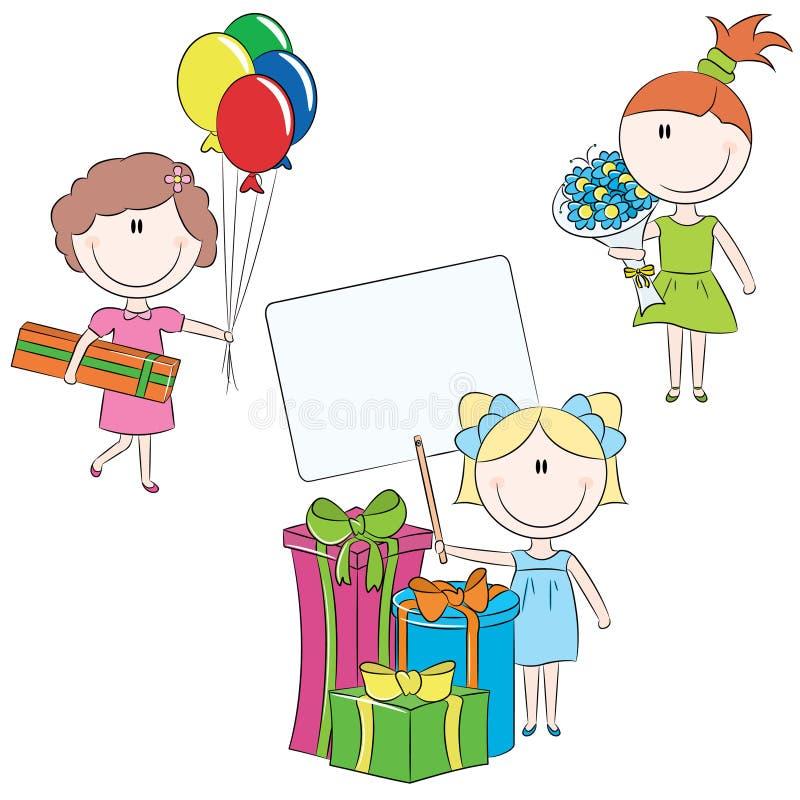 Cheerful girls make happy birthday wishes stock illustration