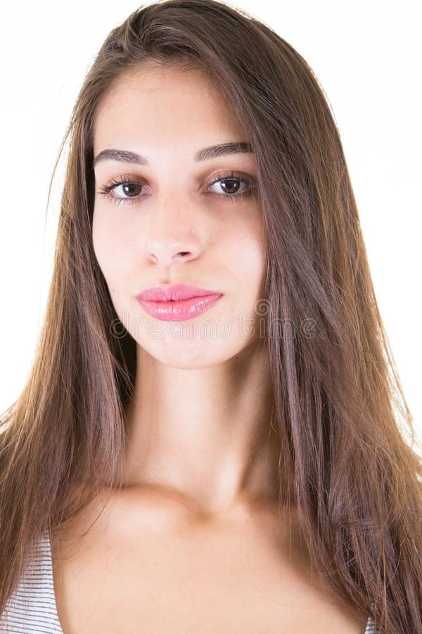 Cheerful good-looking young caucasian woman with dark long hair royalty free stock photography