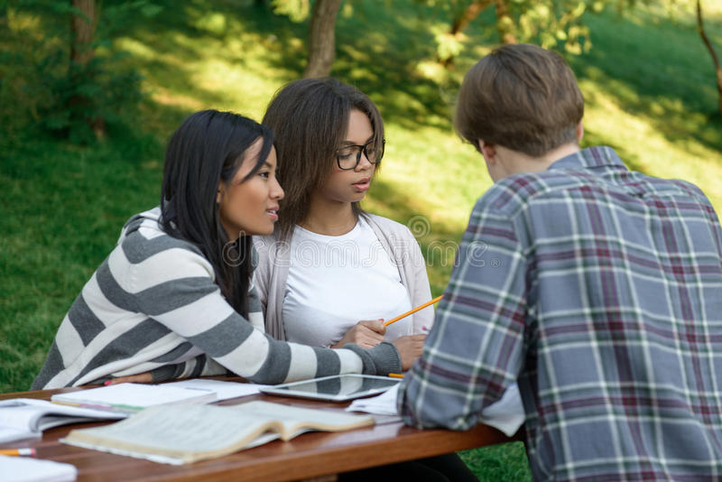 Cheerful group of young students sitting and studying stock photography