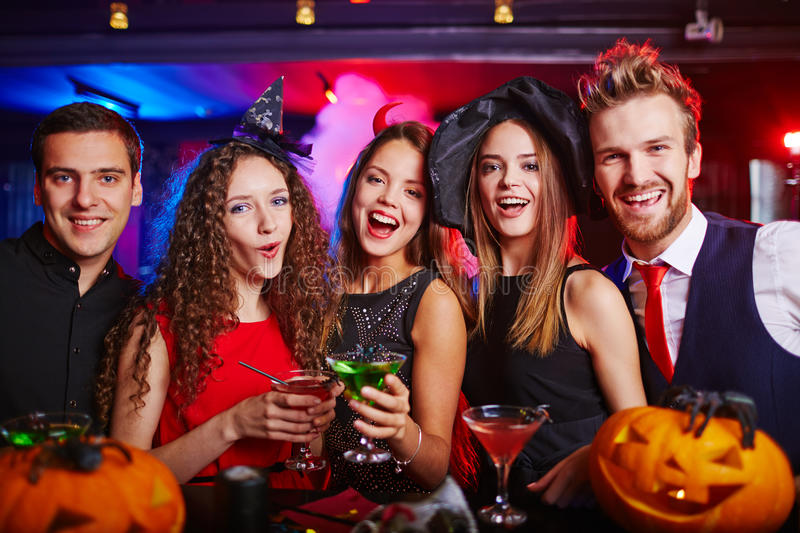 Cheerful Halloween night stock images