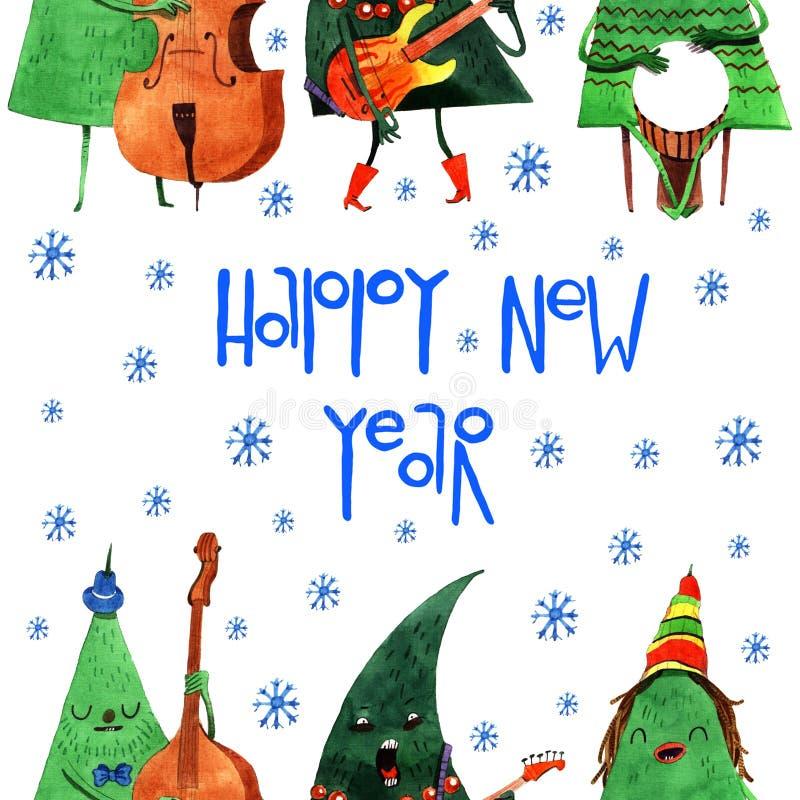 Cheerful hand drawn watercolor cartoon Christmas tree vector illustration