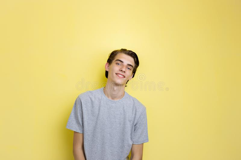 Cheerful handsome young thin dark-haired guy with blue eyes wearing gray t-shirt, standing against yellow background.  stock photography