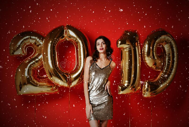 New Year. Woman With Balloons Celebrating At Party. royalty free stock images