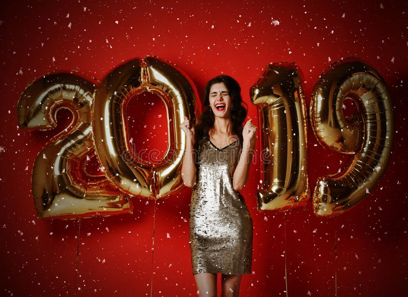 New Year. Woman With Balloons Celebrating At Party. stock images