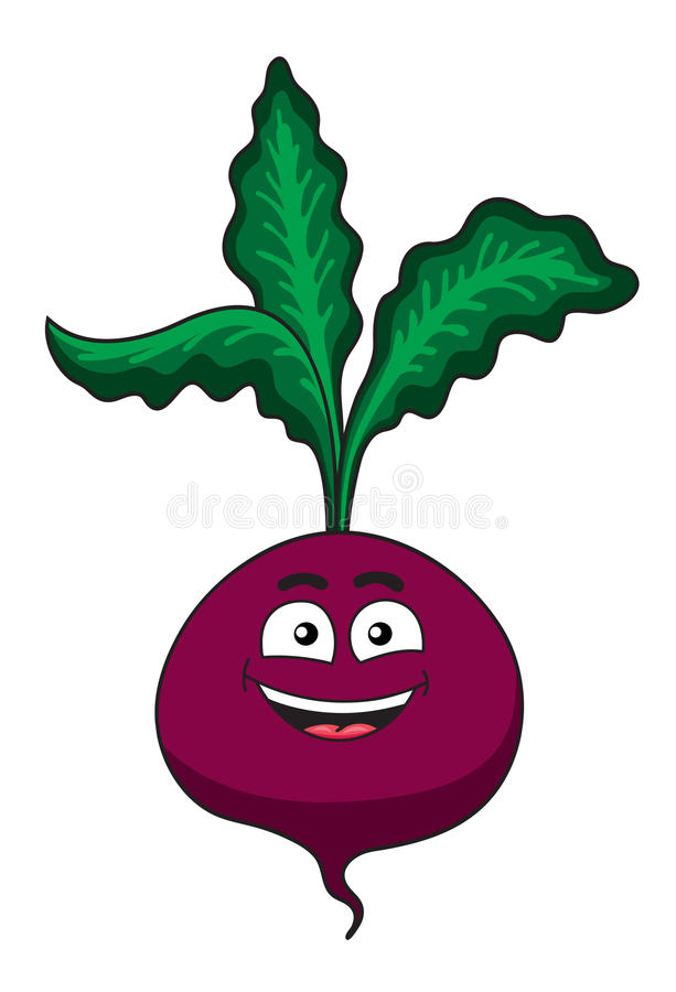 Cheerful happy cartoon beetroot vegetable. With fresh green leaves and a smiling face isolated on white stock illustration