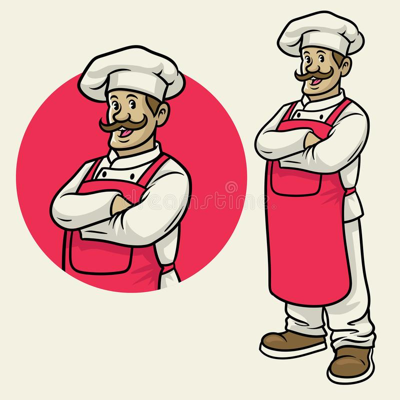 Cheerful happy chef in crossing arm pose. Vector of cheerful happy chef in crossing arm pose stock illustration