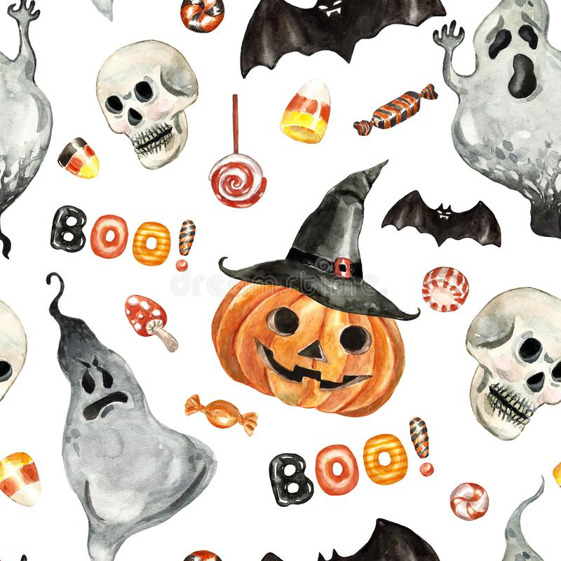 Free Cheerful Happy Halloween Seamless Pattern With Watercolor Jack O Lantern Pumpkin In Hat, Spooky Ghost, Flying Bat, Scary Skull Royalty Free Stock Photos - 162152208