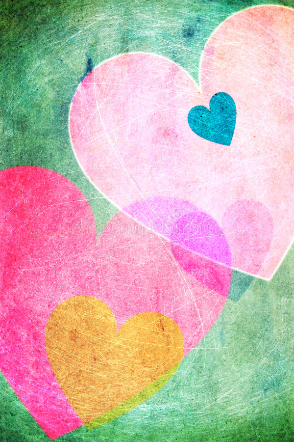Cheerful hearts background vintage. Cheerful hearts in pastel colors on a green background. Vintage, scratchy look vector illustration