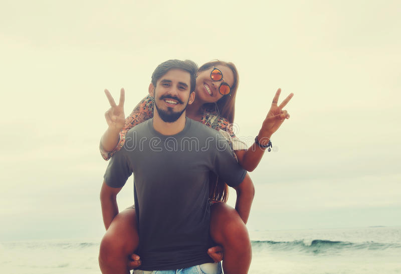 Cheerful hippie love couple in vintage summer style royalty free stock photos
