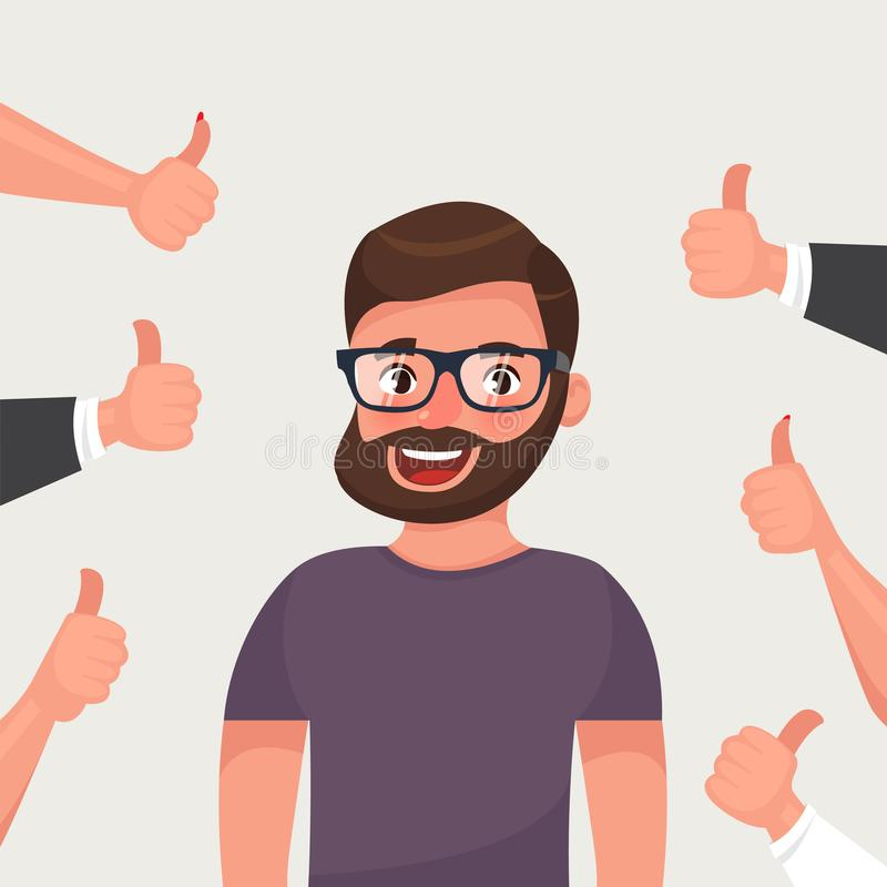 Cheerful hipster bearded young man surrounded by hands demonstrating thumbs up gesture. Public appreciation stock illustration