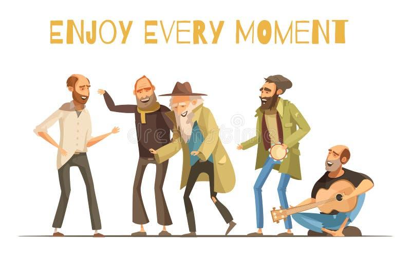 Cheerful Homeless People Illustration stock illustration