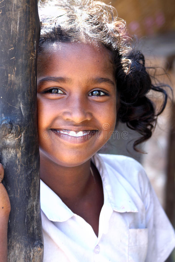 Cheerful Indian Rural Girl Stock Photo