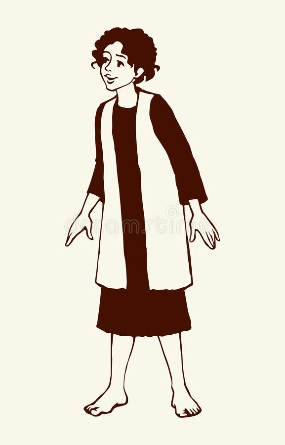 Free Cheerful Jewish Boy In Antique Clothes. Vector Drawing Stock Photo - 157465260