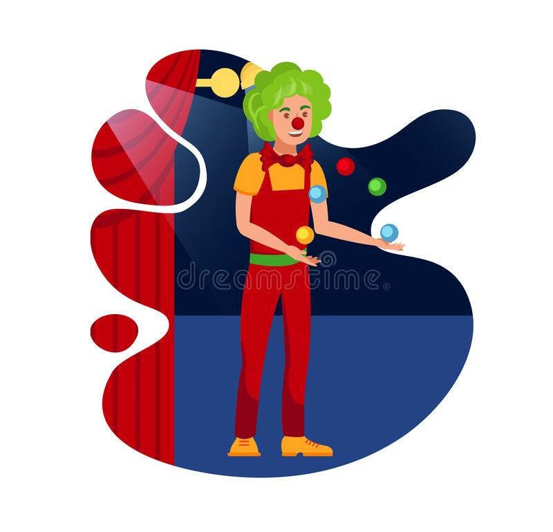 Happy clown juggling with balls in ... | Stock vector | Colourbox