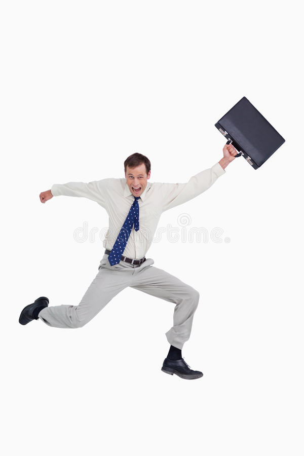 Download Cheerful Jumping Businessman With His Suitcase Stock Image - Image: 23016147