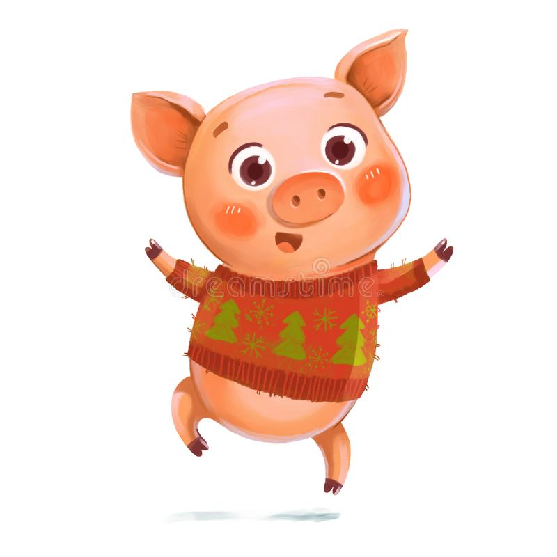 Cheerful jumping Piggy. Symbol of the New Year. Cheerful jumping Piggy. Pig in a knitted winter sweater with Christmas trees. Symbol of the New Year. Funny vector illustration