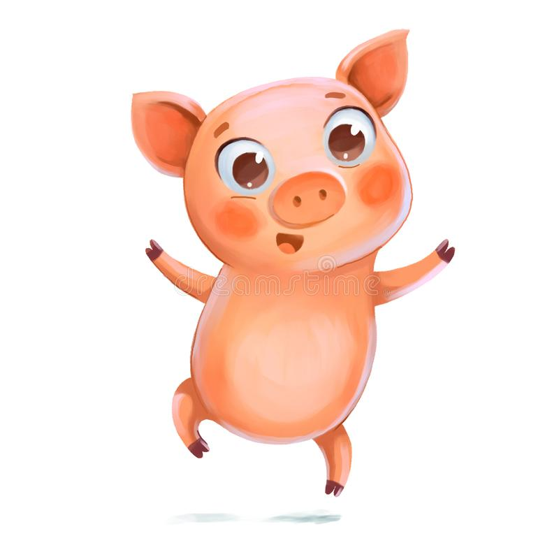 Cheerful jumping Piggy. Symbol of the New Year. Piggy jumping having fun. Symbol of the New Year. Funny cartoon character. Isolated on white background. Hand royalty free illustration