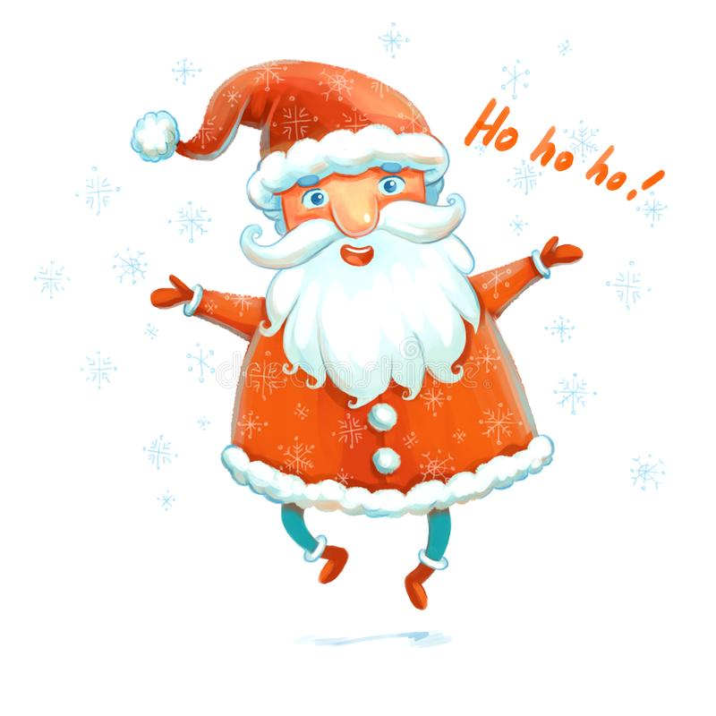 Cheerful jumping Santa Claus. Merry Santa Claus. Symbol of the New Year. Santa say ho ho ho. Funny cartoon character. Isolated on white background. Hand-drawing royalty free illustration