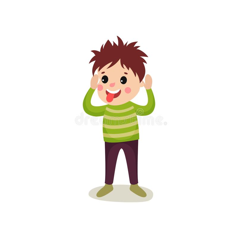 Cheerful boy kid character standing with hands up and making faces. Cheerful kid standing with hands up. Boy making face and sticking out his tongue. Flat royalty free illustration