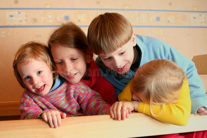 Download Cheerful kids stock image. Image of hugging, child, children - 1909503