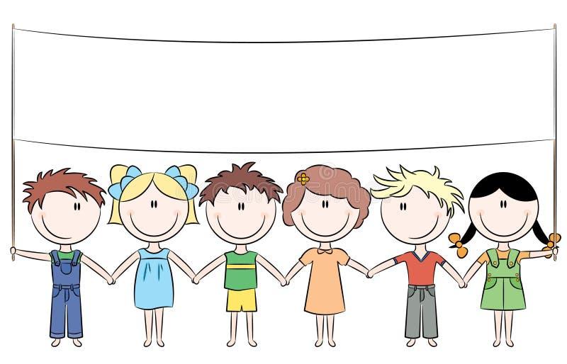 Cheerful kids holding blank banner stock illustration