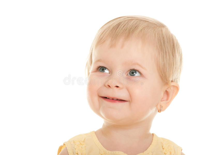 Download Cheerful Little Blonde Girl With Short Haircut Stock Photo
