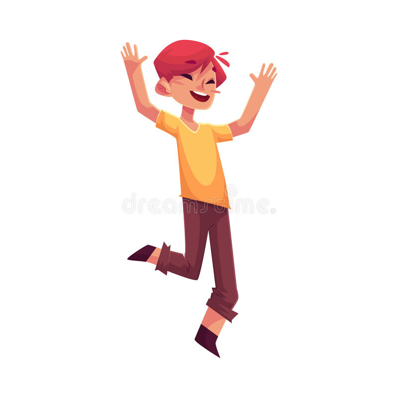 Cheerful little boy jumping from happiness stock illustration
