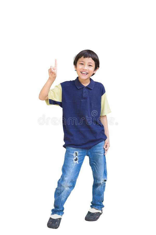 Download Cheerful Little Boy Pointing Up Stock Photo - Image: 26518014