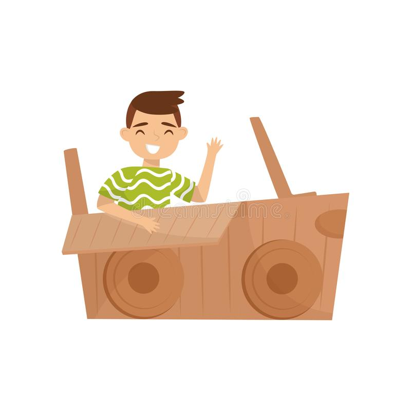 Cheerful little boy sitting in car made of cardboard box and waving hand. Childhood theme. Flat vector design vector illustration