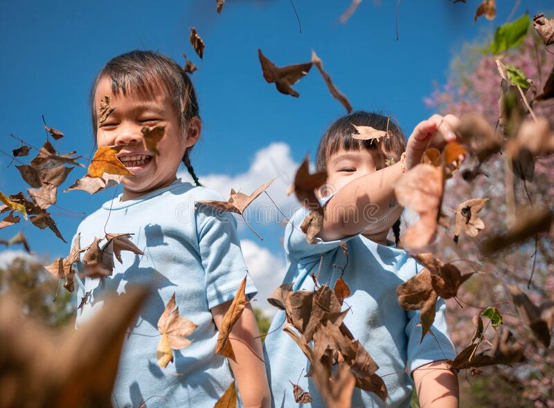 Cheerful little child girl with her sister throwing yellow leaves in autumn park stock images