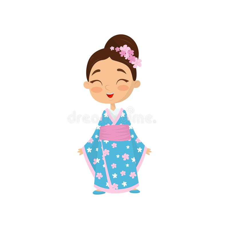 Cheerful little girl with flowers in hair wearing traditional Japanese dress. Child blue kimono with pink belt. Flat vector illustration
