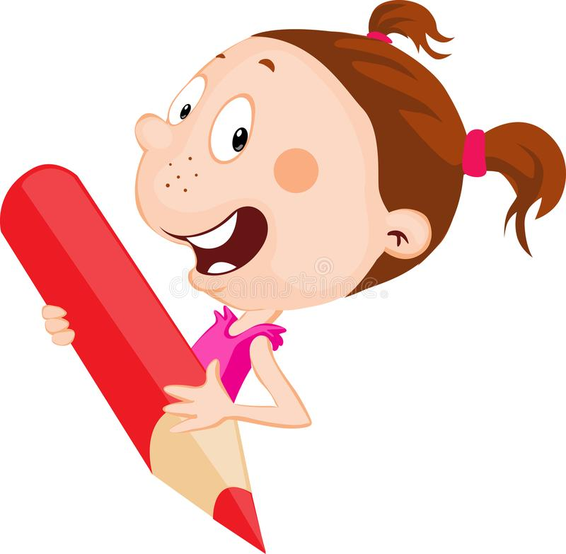 Cheerful little girl holds red pencil peeking out flat design. Illustration vector illustration