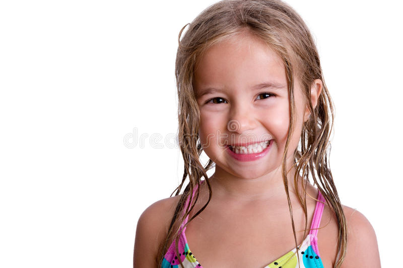 Cheerful little girl with long wet hair royalty free stock photography