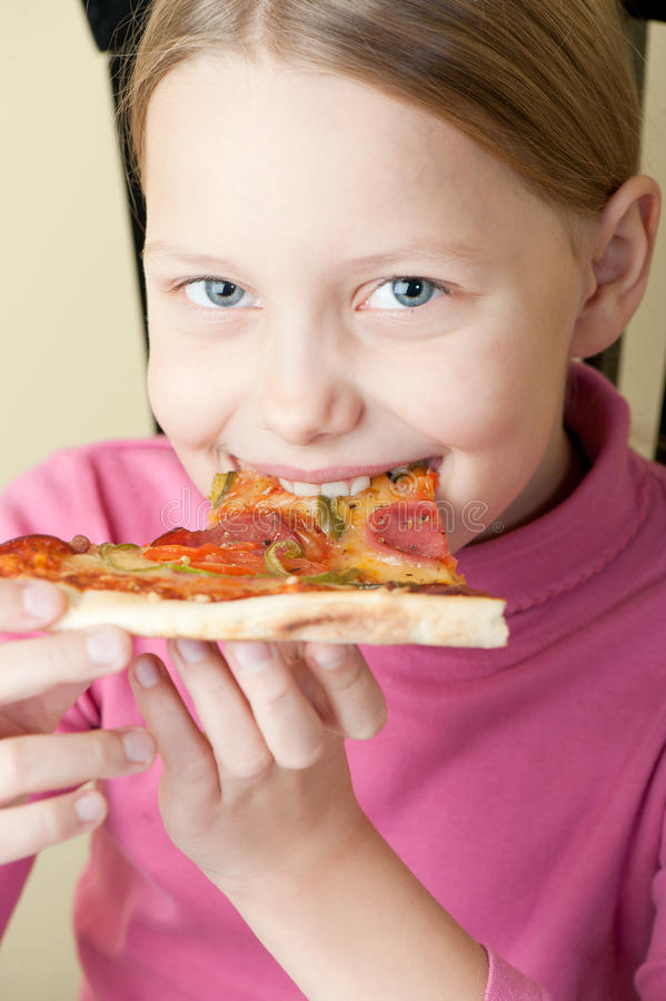 Download Cheerful Little Girl With Pizza Stock Image - Image of fast, cute: 16769909