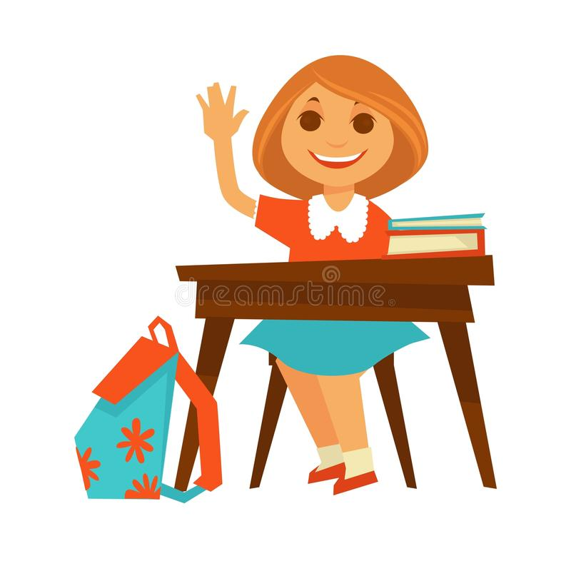 Cheerful little girl sits at desk in school. Cheerful girl in orange blouse and blue skirt sits at wooden desk with textbooks on top and backpack with flowers royalty free illustration