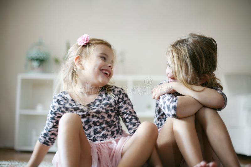 Cheerful little girls. royalty free stock photography